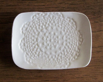 White lace ceramic soap or butter dish