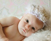 Fairytale Blessing Headband- pleated rose trio with rhinestones and feathers