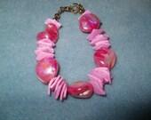 Hot Pink chunky motherof pearl handmade beaded bracelet