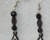 Handmade black dangle earrings
