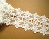 Cotton Lace Trim -2 yards Ivory Flower Lace(L381)