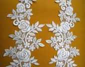 A Pair White and Silver line Embroidery Flower Applique For Custom dress,Wedding gift or Embellish Accessories