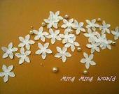 Applique Lace Trim,White Flowers Appliques Lace,Vintage Lace for Costume Desige,Headband,Bridal 10 pcs (A7)