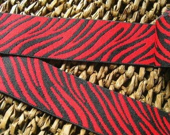 Red and Black ebra-Stripe Elastic Waistband for Casuual Pants ,Sport Pants and Home Decoration