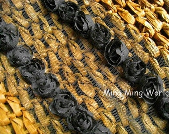 Chiffon Rose Lace Trim -3.5 Yards Black Chiffon Rose Lace (C40)