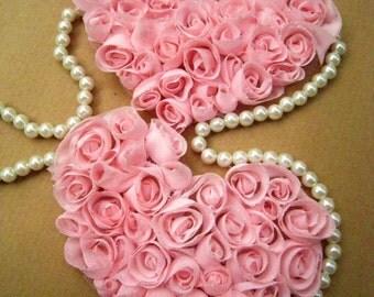 Rose Heart -2 PCS Pink Chiffon Rose Applique Trim (C23)