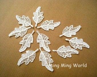 Ivory Lace Trim-10 PCS Ivory Leaf Appliques Lace Trim