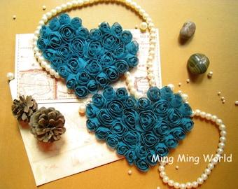Rose Heart - 2 PCS Atrovirens Chiffon Rose Applique Trim(C45)