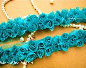 3D Chiffon Fabric Rose Lace -2 Yards  2 Row Cyan Chiffon Rose Lace Applique Trim (C10)