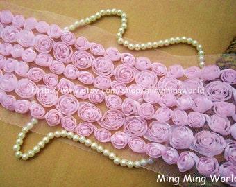 Chiffon Rose Lace Trim -6 Row Light Pink Chiffon 3D Roses Lace Applique (C12)