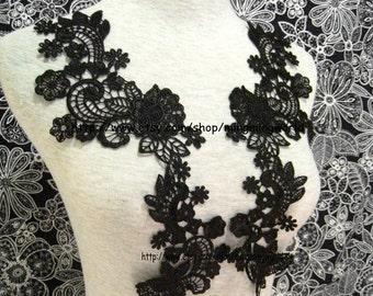 Black Applique,Black Lace Trim,Black Dress Applique for Costume Desige,Headband,Home Desige.1 Pair(A5)