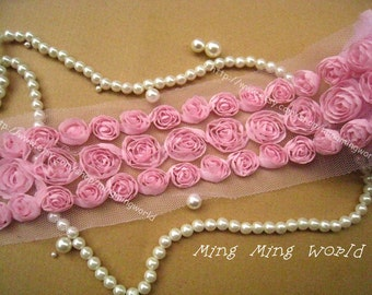 Rose Chiffon Lace- 2 Yards 3 Row Light Pink Chiffon Rose Lace Trim Applique(C79)
