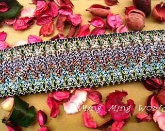 1 Yrad Bohemian Style Elastic Trim for Custom Gift, Altered Couture, Home Decor,Waistband
