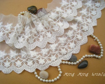 Cotton Embroidered Lace Trim -2 Yards Ivory Rose and Litter Flower Lace(L344)