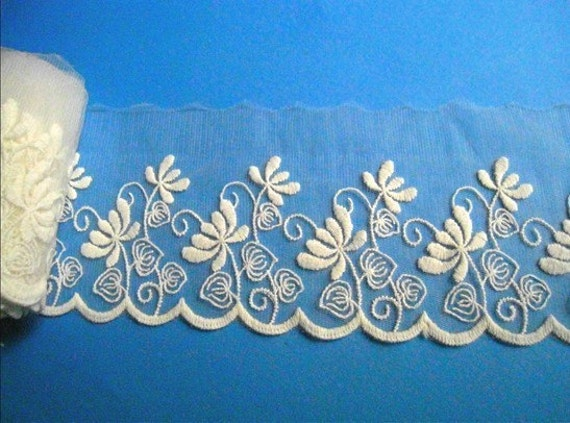Cotton Embroidery Lace Trim- 2 yards Ivory Flower Lace