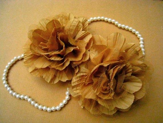 2 PCS Marron Chiffon and Tulle Flower for Bridal,Headband,wedding gift,Brooch.