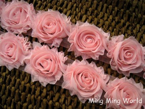 1 Yard Pink Chiffon Rose Lace For Costume Design or Handmade, Headband Design.(C27)