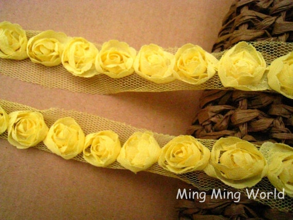 Rose Chiffon Lace Trim -3.5 Yards Yellow Chiffon Rose Lace(C66)