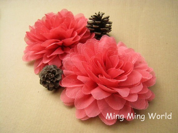 6 PCS Salmon Color Tulle Flower for Bridal,Headband,wedding gift,Brooch.