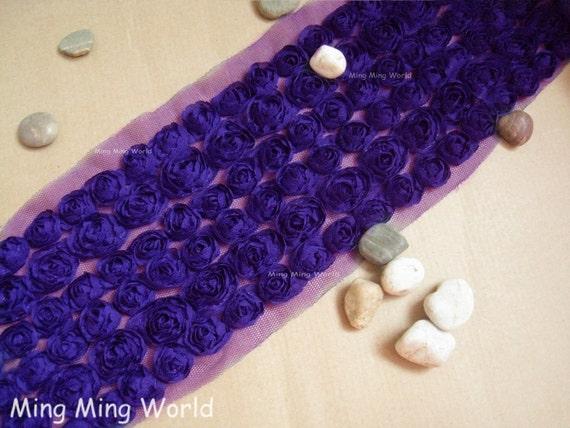 Chiffon Rose Lace -1 yard 6 Row  Hyacinth Chiffon 3D Rose Lace Applique Trim (C63)