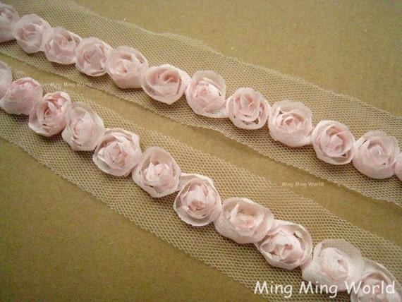 Light Peach Chiffon Lace Trim -2 Yards  Chiffon 3D Rose Lace Applique Trim