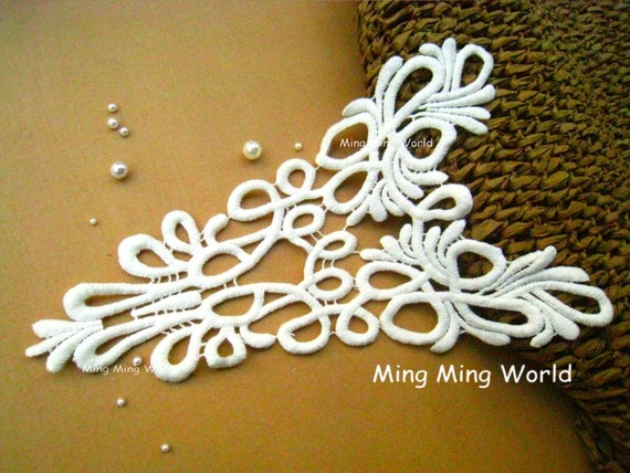 Cotton Embroidery  Applique Trim - Roman style Ivory Lace Applique for Altered Couture,Costume Design,Neck Design