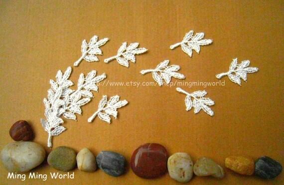 Leaf Applique Lace -10 PCS Ivory Leaf Appliques Lace Trim for Wedding Design,Home Decor
