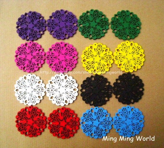 8 Pairs Hollow Out Colorful Flower Wood Pendant For Earrings,Jewelry Supply,Woodchilps Embroider.