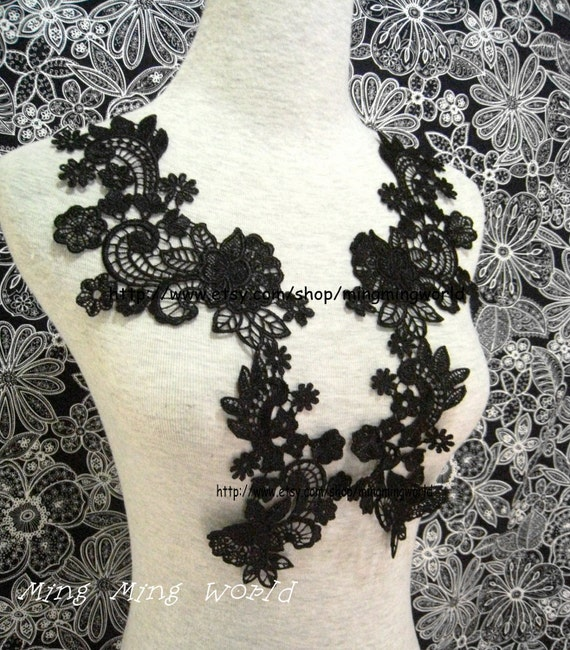 Black Applique,Black Lace Trim,Black Dress Applique for Costume Desige,Headband,Home Desige.1 Pair(A5)