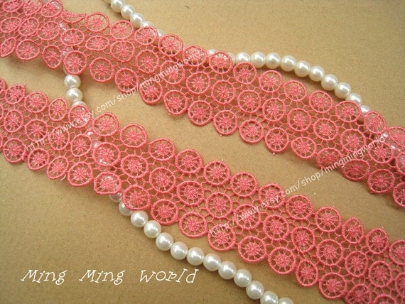 Vinece Lace Trim -1 yard Salmon pink Lovely  Lace Applique