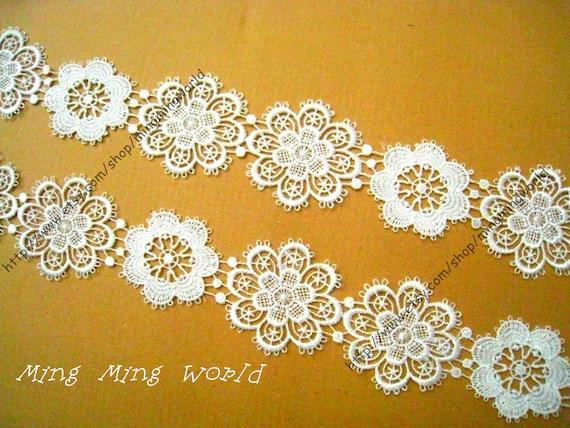 Venice Lace Trim - 1.5 yards White Irregular Flower Lace Trim(L167)