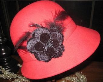 Cloche~ Vintage Hat~ Stellar Condition~ RED Wool Hat~ Jackie O ~Wool Hat~ Feathers~ Stellar Condition