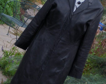 Leather Coat~ Vintage Full Lenght Black Leather Coat Halogen Med Soft buttery Leather