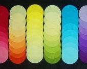 DIE CUT Hand Dyed Fabric 2 Inch Circles, RAINBOW, 48 Circles, 100% Cotton, Pre-Shrunk, Colorfast