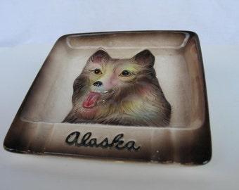 Vintage Ashtray Alaska Sled Dog Souvenir