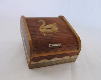 Vintage Roll Top Trinket Box with Swan Design Unique