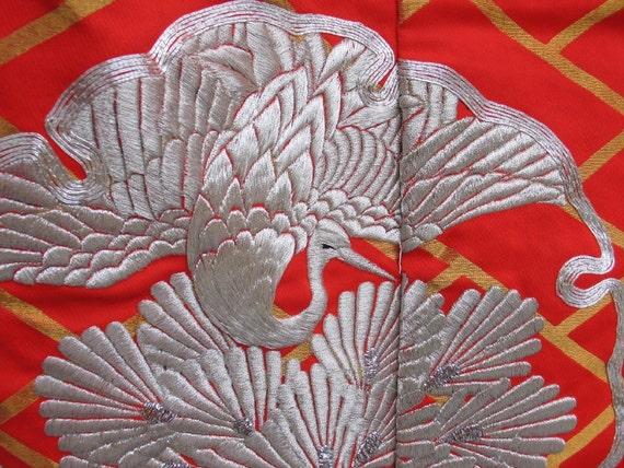 Vintage Uchikake Wedding Kimono Red Silver Gold
