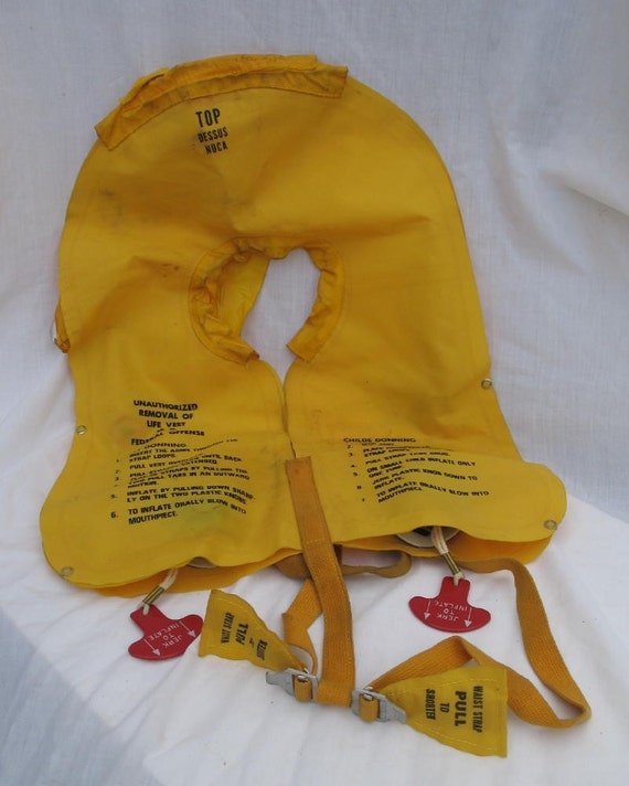 Vintage Airplane Floatation Vest Yellow