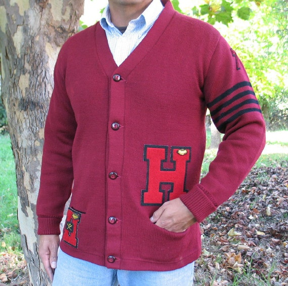 Vintage Letterman Sweater Kandel 100% Virgin Wool