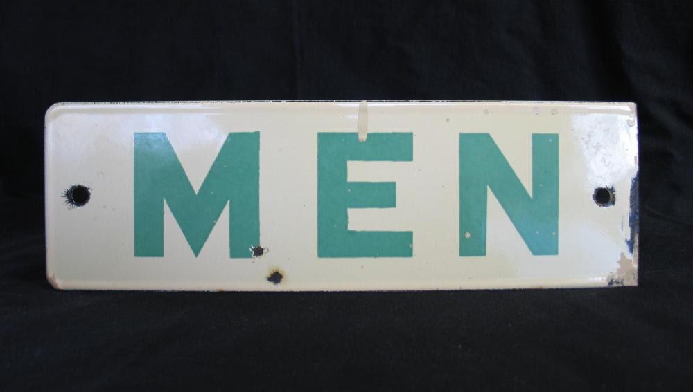 Vintage Porcelain Men S Room Sign Double Sided