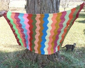 """Vintage Afghan Hand Crafted 56"""" x 43"""" Wide Chevron Throw"""