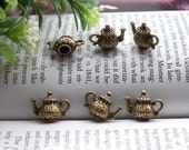 10pcs 0.60x0.45 inches antique brass tea pot kettle charm pendant jewelry accessories PB107