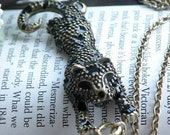 Pretty retro copper black glaze Leopard necklace pendant jewelry vintage style