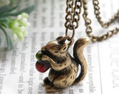 Pretty retro copper long tail squirrel eating red cedar nut pine nuts necklace pendant jewelry vintage style