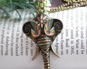 Pretty retro copper colorful glaze indian elephant head with long nose necklace pendant jewelry vintage style