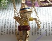 Luxury retro gold puppet boy with red Shorts Straw hat necklace pendant jewelry vintage style
