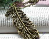 Petty retro copper crystals big leaf like feather necklace pendant vintage style