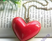Pretty retro copper red heart necklace pendant jewelry vintage style