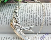 Pretty retro silver bird pigeon necklace pendant jewelry vintage style