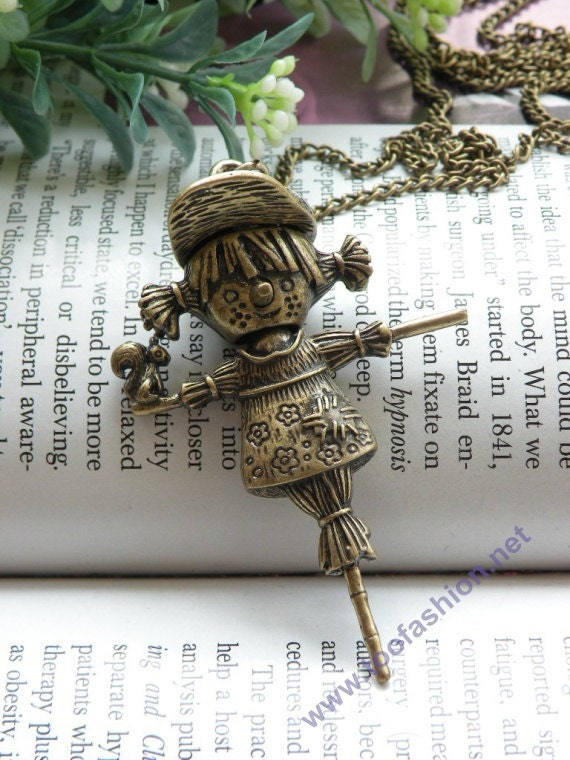 Pretty retro copper scarecrow girl with hat and a squirrel necklace pendant jewelry vintage style